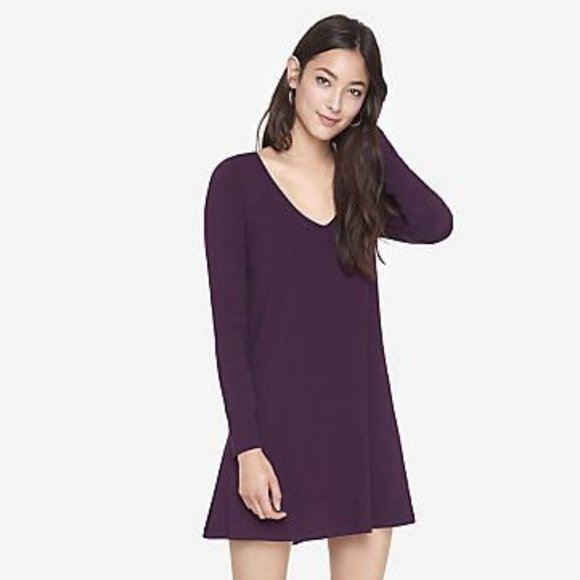 Express Purple V-neck Long Sleeve Dress